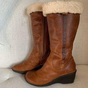 LEATHER WEDGE UGG WINTER BOOTS
